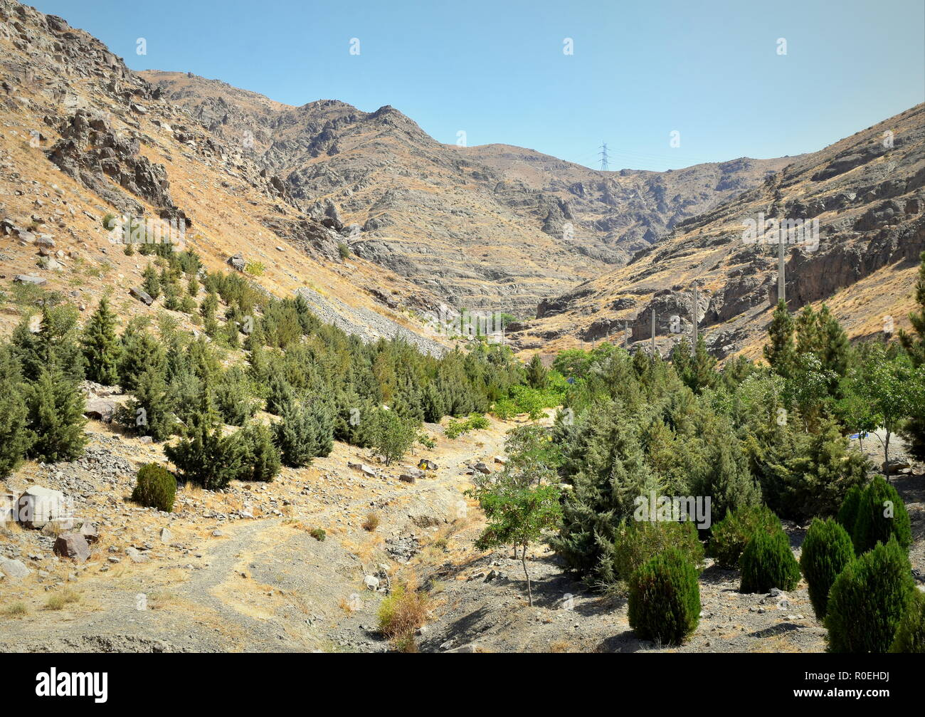 Alborz mountain range natural landscape around Caspian Sea basin in Iran - Stock Image
