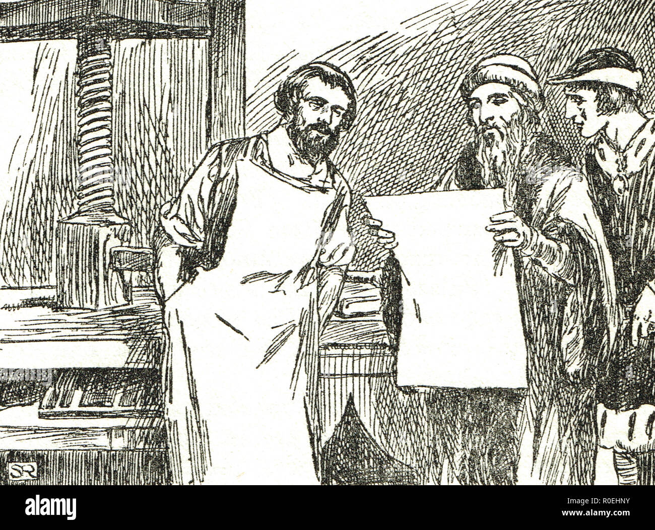 Gutenberg showing his first proof - Stock Image