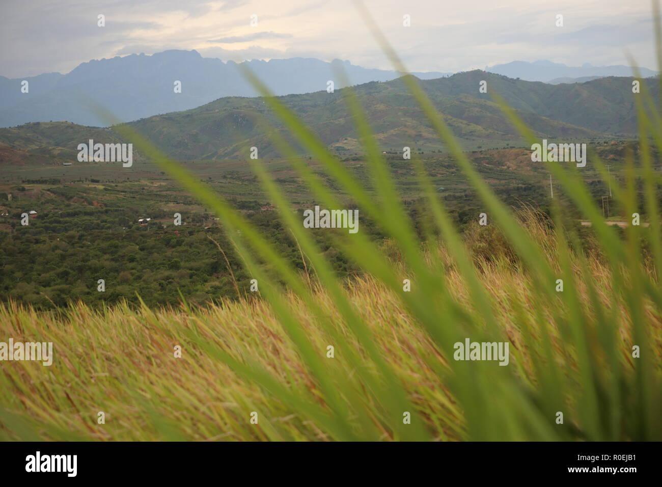 Landschaft in Uganda (Ostafrika), Aussicht zum Queen Elizabeth Nationalpark Stock Photo