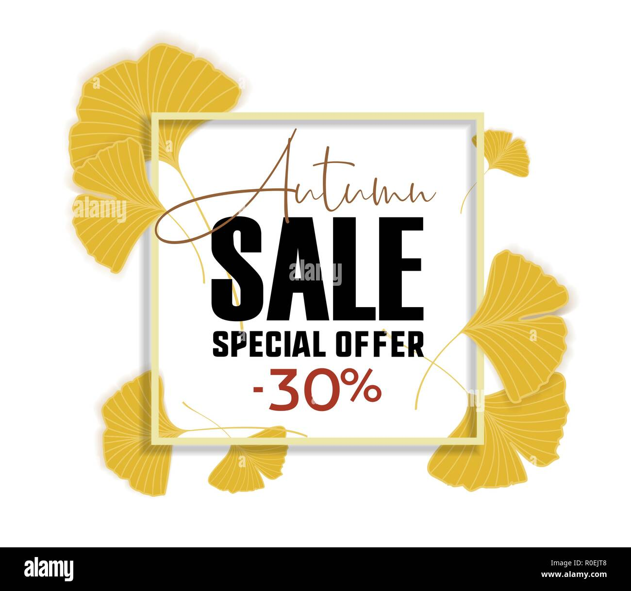 Ginkgo biloba leaves. Sale banner. Yellow poster. - Stock Vector
