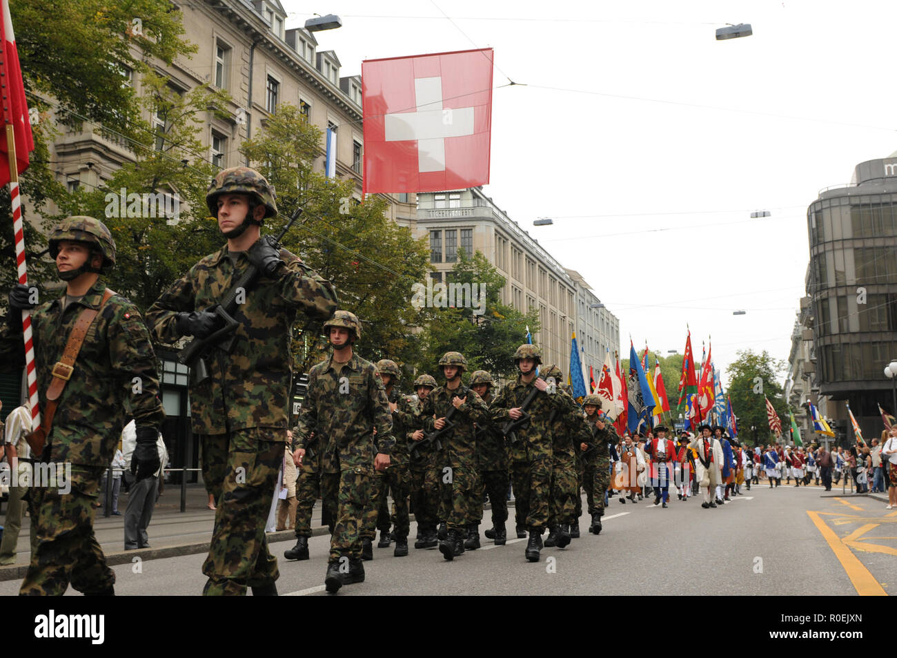 Swiss soldier parade at the Swiss National Day Parade in Zürich-City - Stock Image