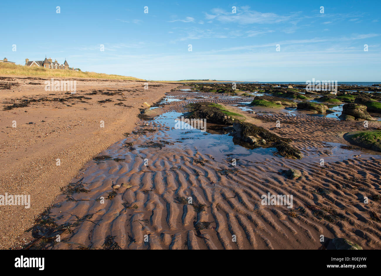 East Haven beach, between Arbroath and Carnoustie, Angus, Scotland. Stock Photo