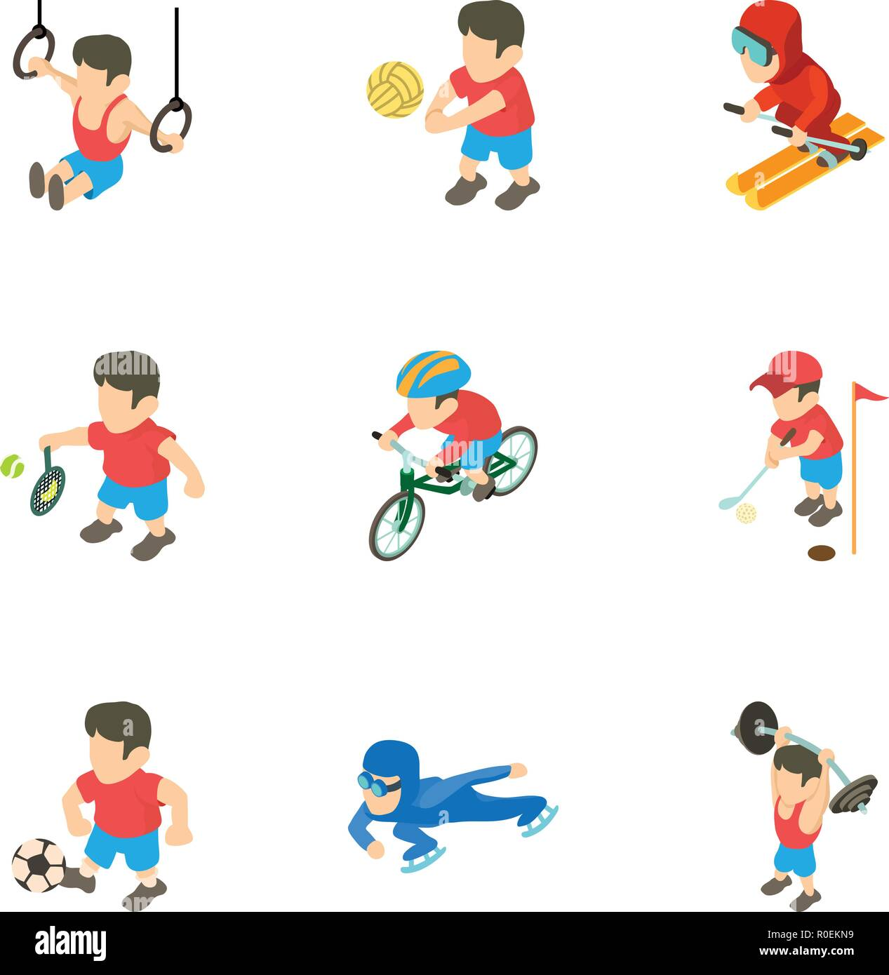 Exercise icons set, isometric style - Stock Vector