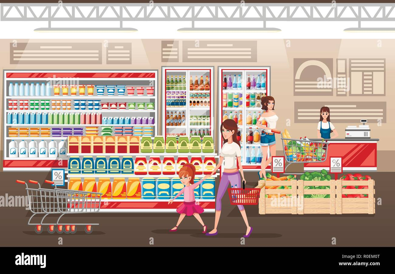 Supermarket illustration. People shopping in supermarket with product cart. Flat vector illustration. Shelves and refrigerators for products. - Stock Vector