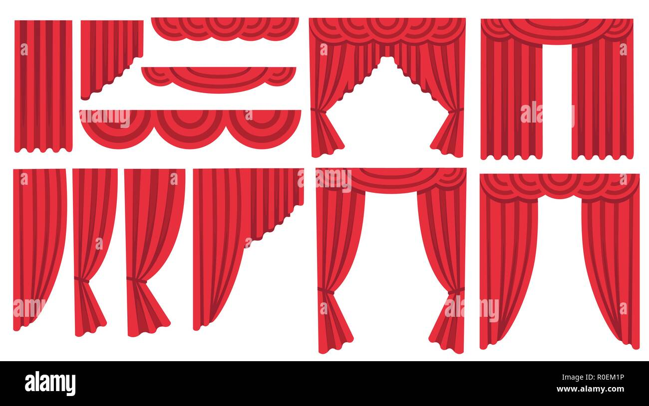 Collection of luxury red silk curtains and draperies
