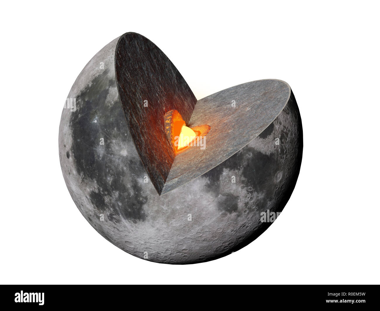Moon structure, crust, mantle, core,  isolated on white background - Stock Image