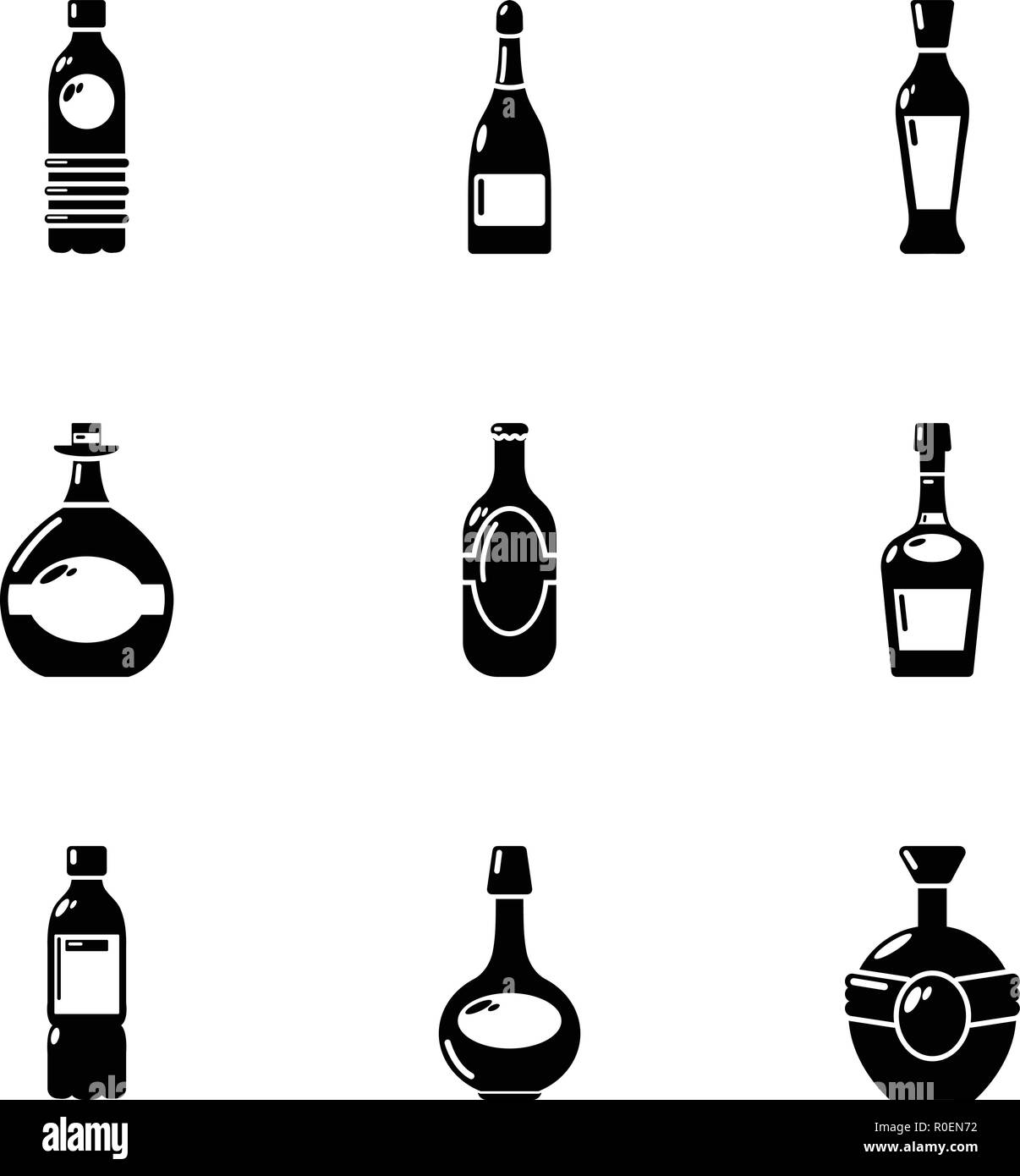 Alcohol dependence icons set, simple style - Stock Image