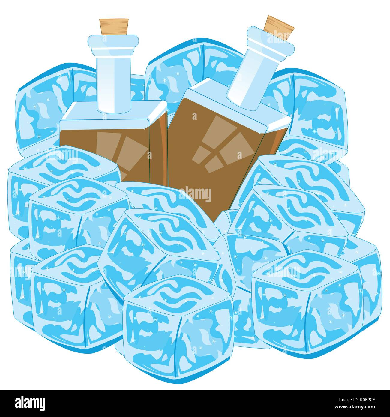 Bottles with drink cover bit ice on white background - Stock Vector