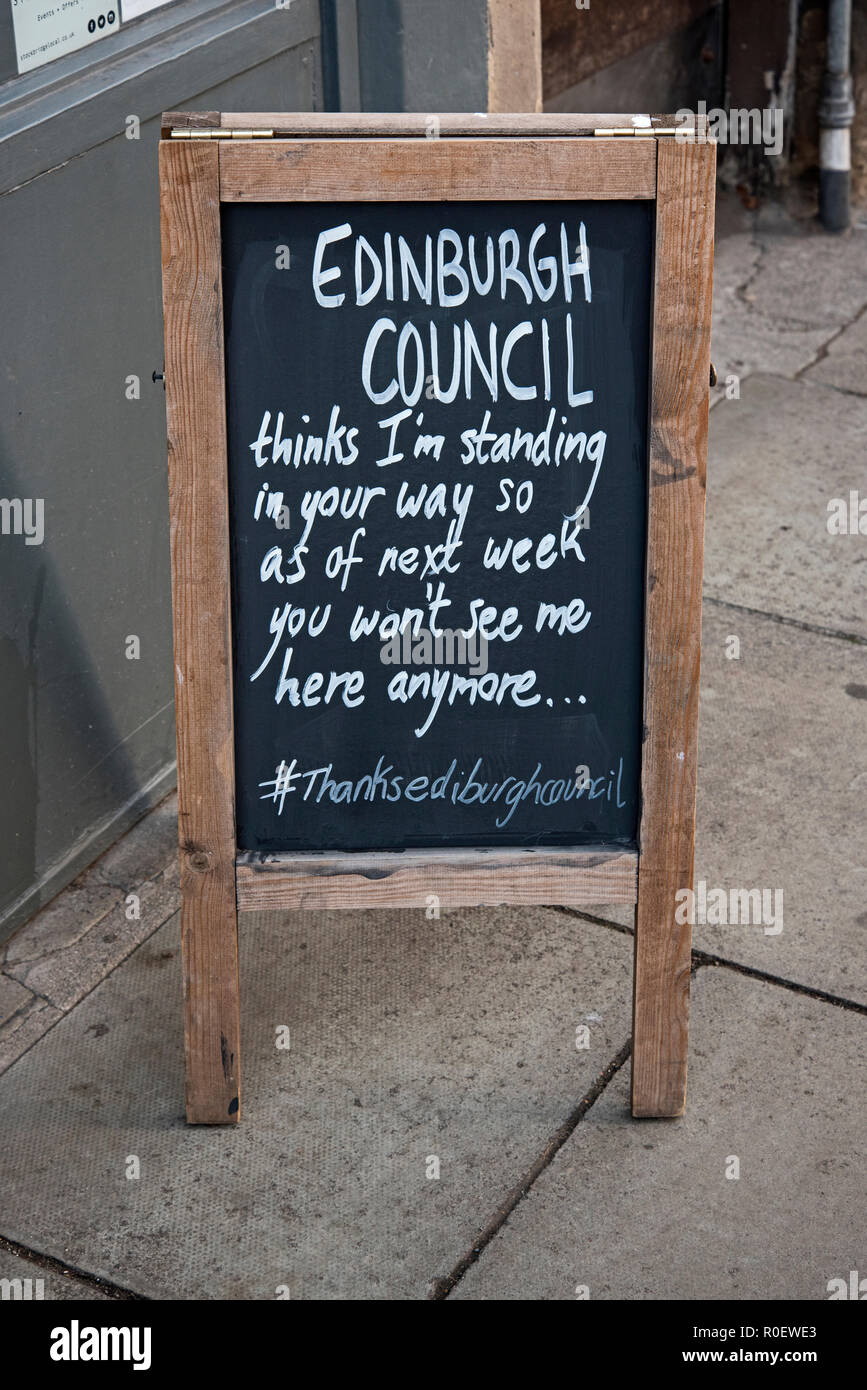 Edinburgh, Stockbridge, Raeburn Place 4th November 2018. An A-board outside a cafe in Raeburn Place, Edinburgh, Scotland prior to a ban on all temporary on-street advertising boards across Edinburgh coming into force on 5th November, 2018. The ban aims to make the pavement safer particularly for those with disabilities such as sight impairments and mobility difficulties. - Stock Image