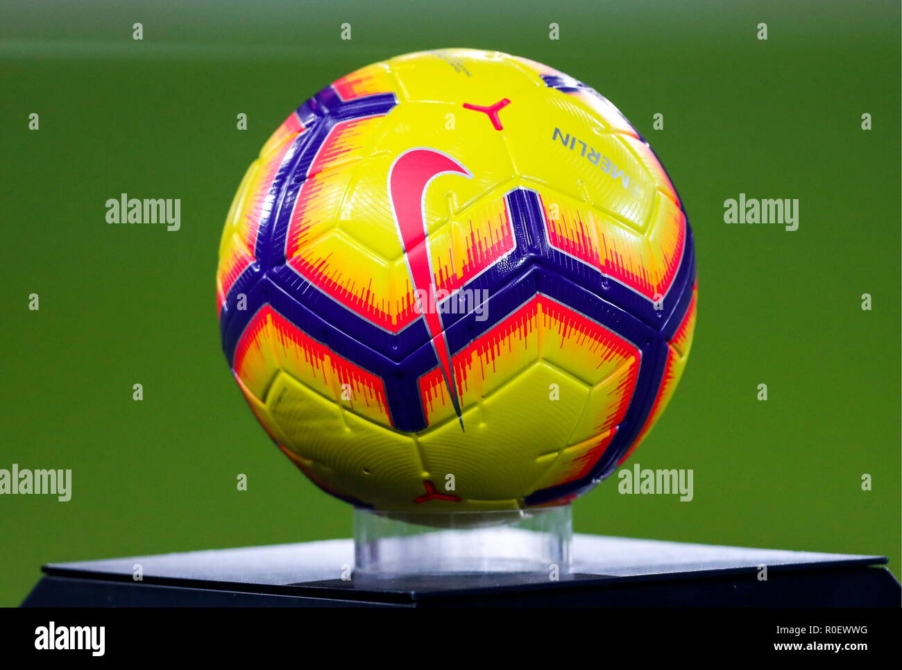Moscow, Russia. 04th Nov, 2018. MOSCOW, RUSSIA - NOVEMBER 4, 2018: A ball on display before the start of a 2018/2019 Russian Football Premiere League Round 13 football match between Spartak Moscow and Ural Yekaterinburg at Otrkytiye Arena. Sergei Savostyanov/TASS Credit: ITAR-TASS News Agency/Alamy Live News - Stock Image