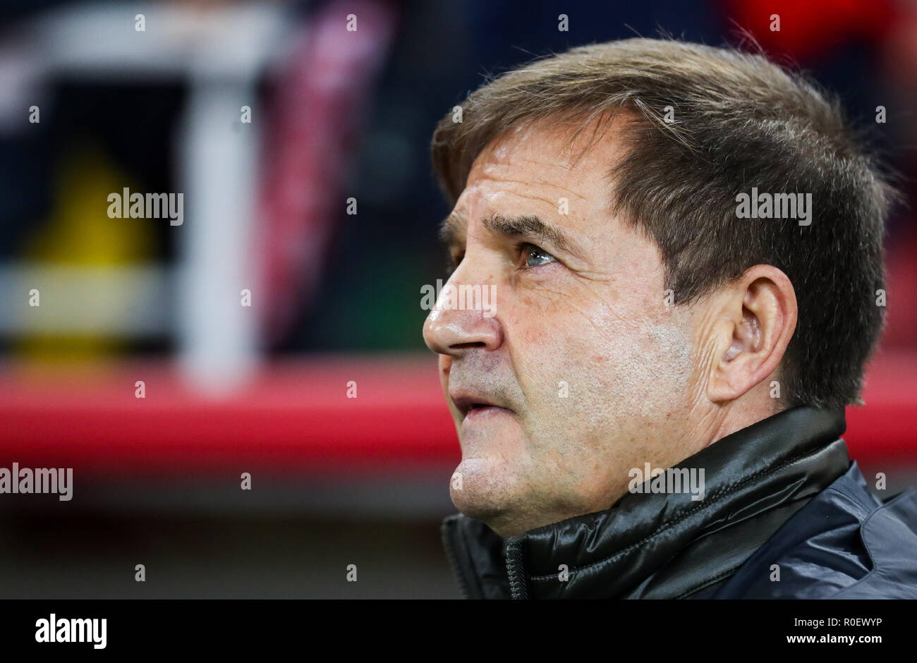 Moscow, Russia. 04th Nov, 2018. MOSCOW, RUSSIA - NOVEMBER 4, 2018: Spartak Moscow's acting head coach Raul Riancho during a 2018/2019 Russian Football Premiere League Round 13 football match between Spartak Moscow and Ural Yekaterinburg at Otrkytiye Arena. Sergei Savostyanov/TASS Credit: ITAR-TASS News Agency/Alamy Live News - Stock Image