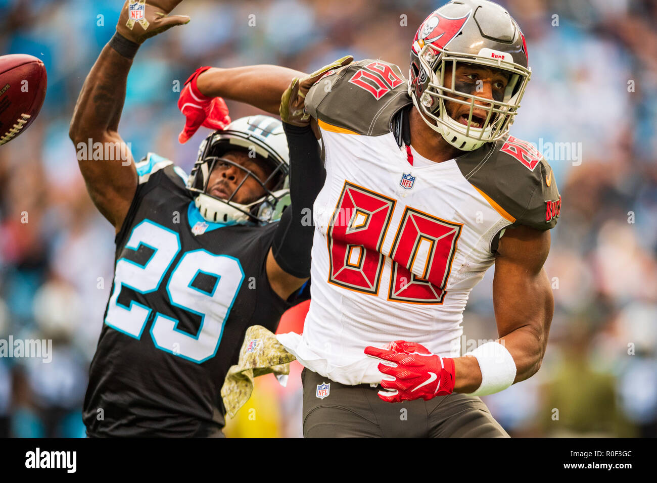 e3070223b Tampa Bay Buccaneers tight end O.J. Howard (80) and Carolina Panthers free safety  Mike Adams (29) during the NFL football game between the Tampa Bay ...