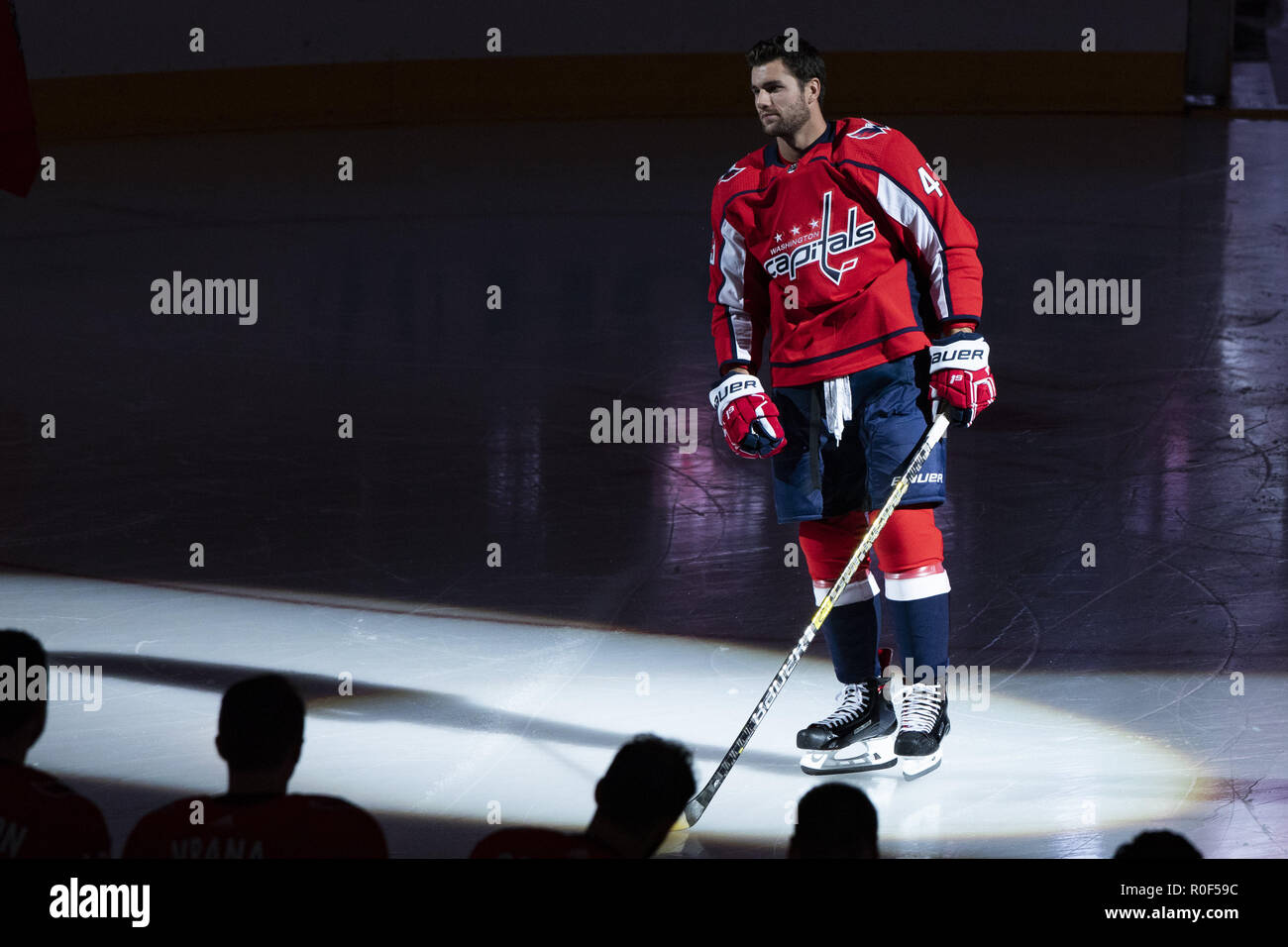 Washington Capitals right wing Tom Wilson (43) takes the ice for the  Stanley Cup banner raising ceremony prior to the game between the Boston  Bruins and ... 53629eeb2