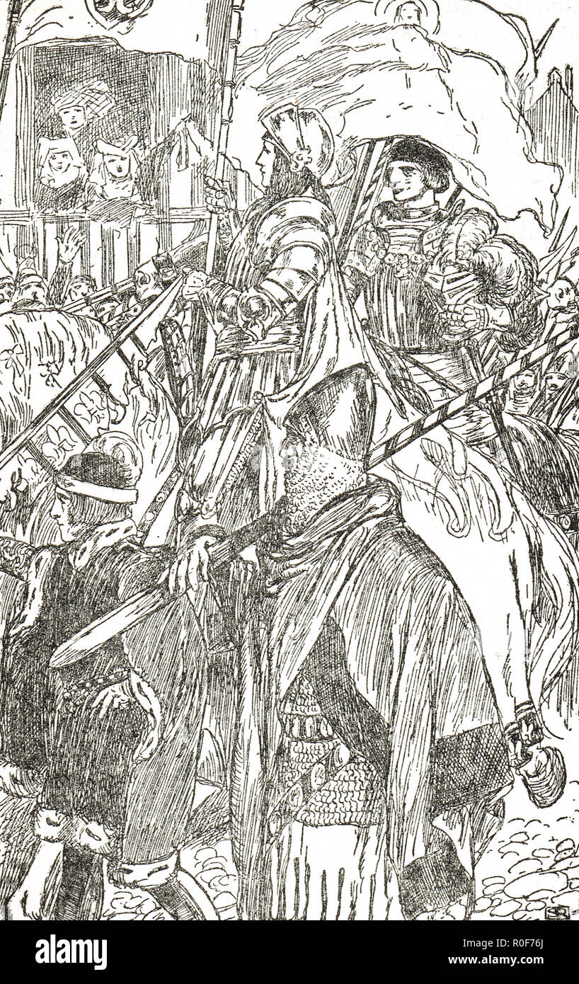 Joan of Arc, in armour, leading the French Army,  during the Hundred years' war, - Stock Image