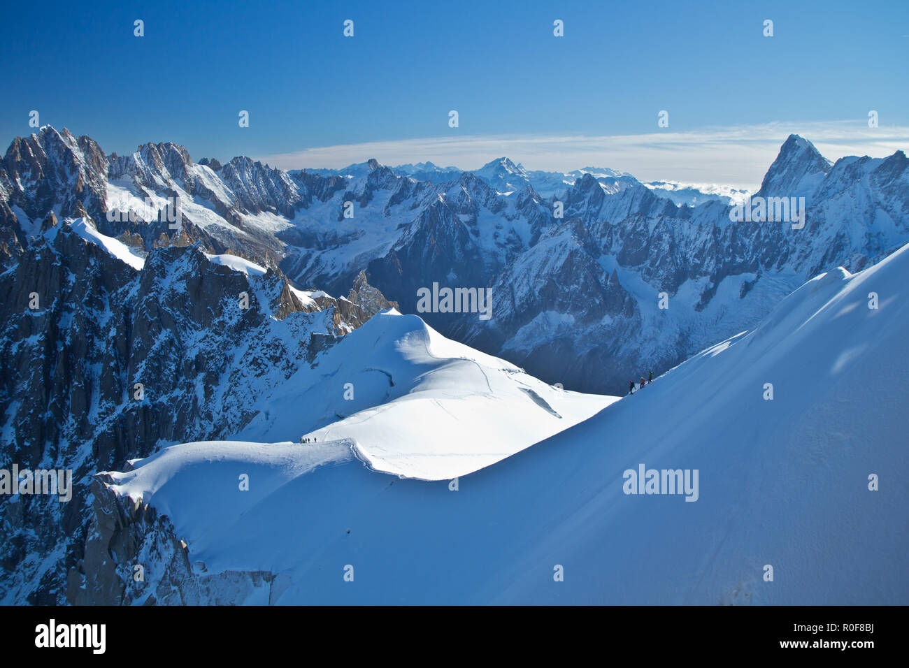 The Aiguille du Midi is a mountain in the Mont Blanc massif within the French Alps, accessed by cable car from Chamonix. - Stock Image