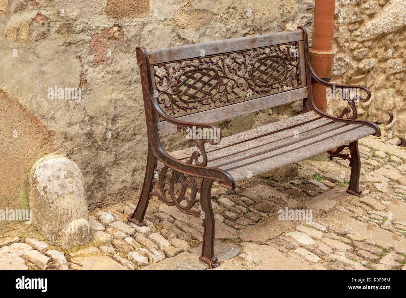 Surprising Still Life Of An Old Wooden Bench With Wrought Iron Design Machost Co Dining Chair Design Ideas Machostcouk