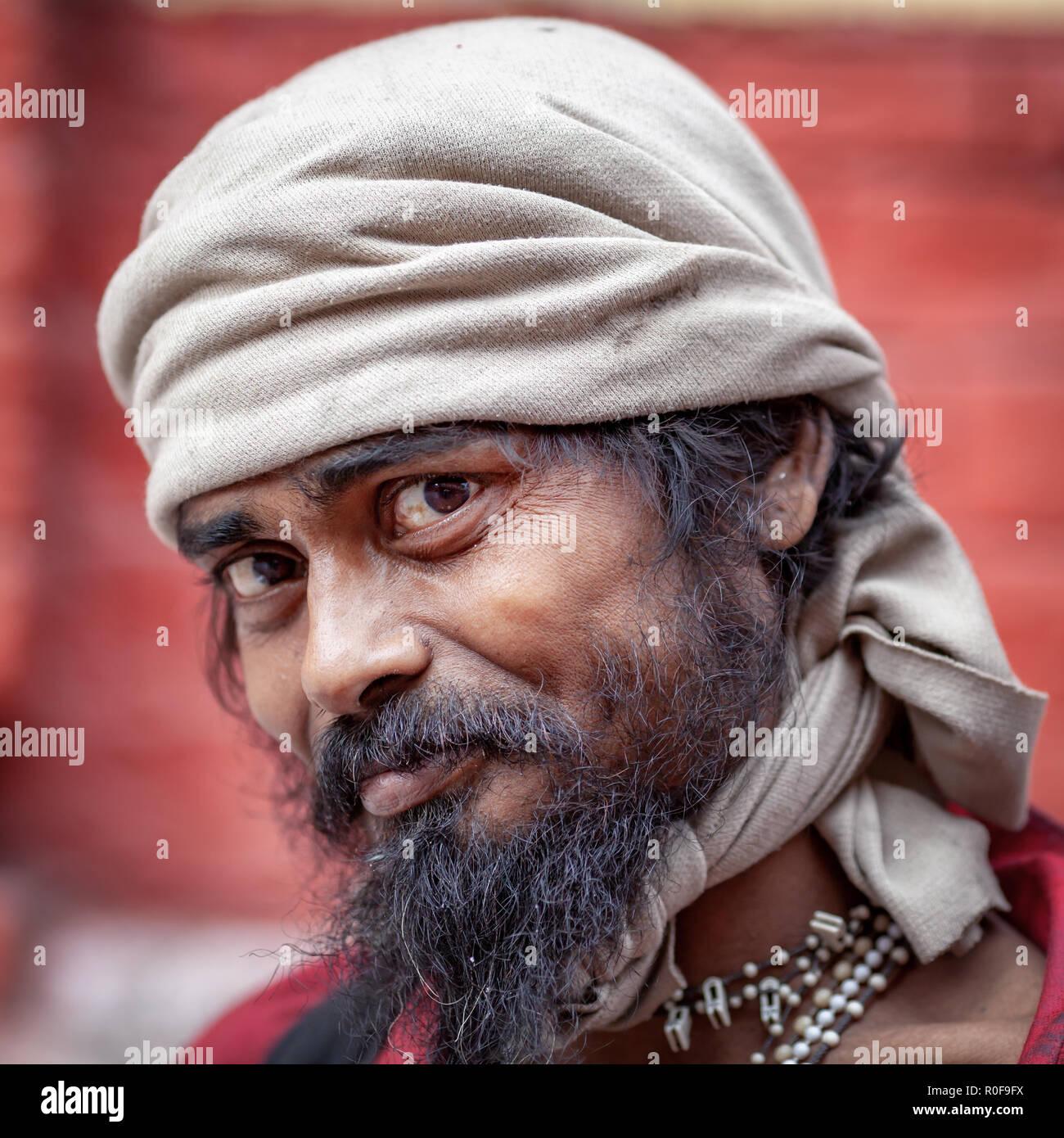 Portrait of an Indian Sadhu, Kolkata, West Bengal, India - Stock Image