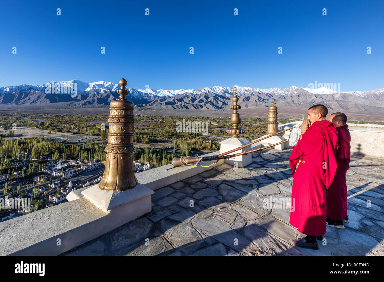 22e667ef6f7 Buddhist monks blowing conch shells at Thikse Monastery (Thiksay Gompa)