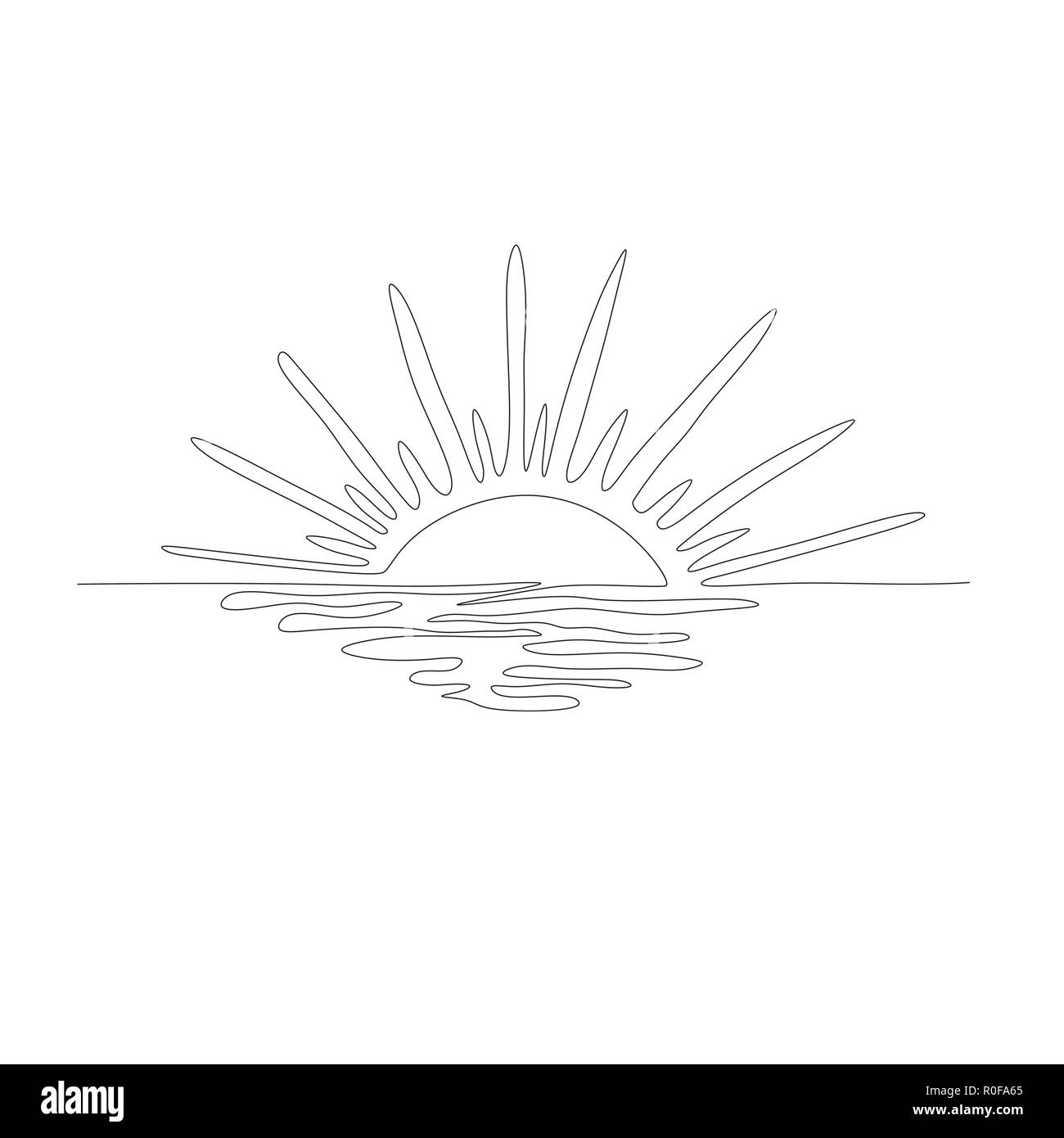 Continuous one line drawing. Sunset on the sea. Vector illustration. - Stock Image