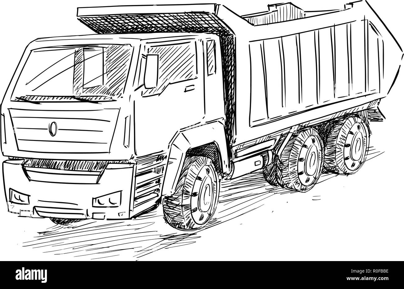 Vector Sketch Drawing Illustration of Dump Truck - Stock Vector