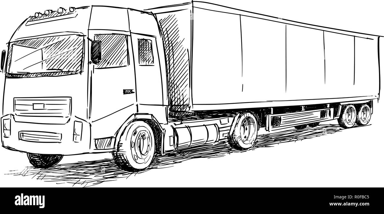 Vector Sketch Drawing Illustration of Truck - Stock Image