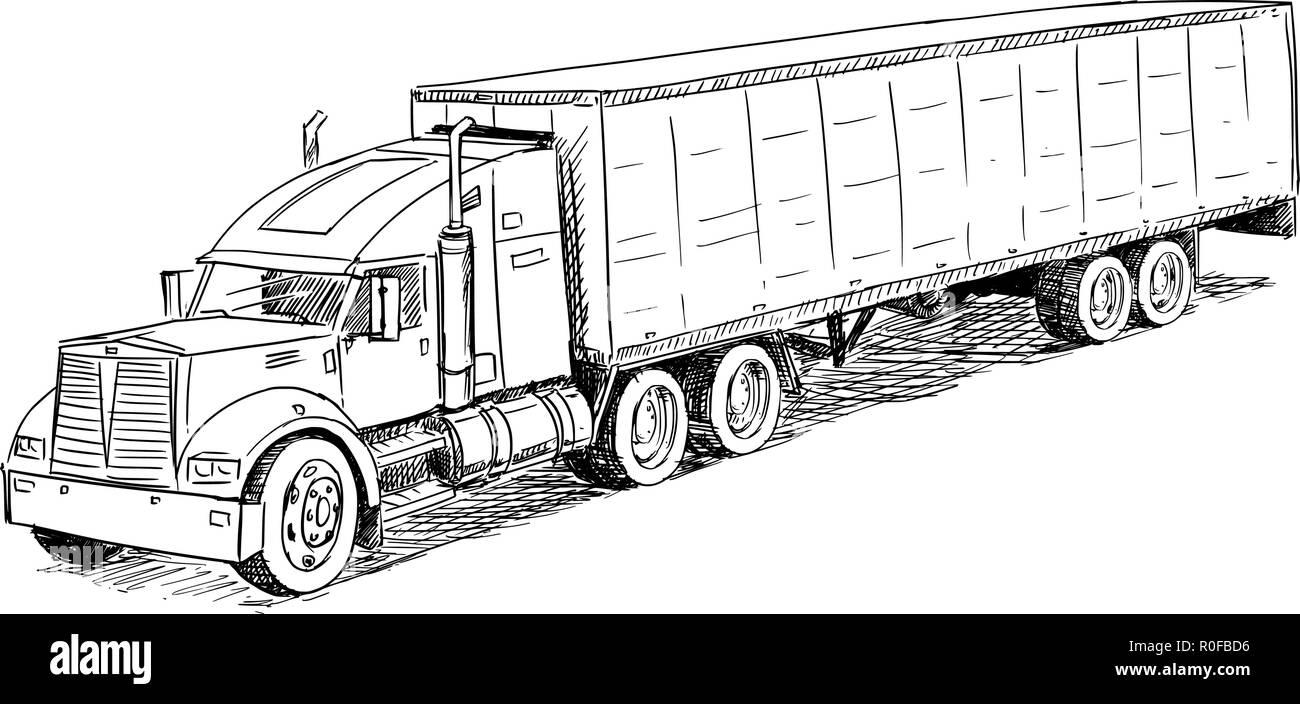 Vector Sketch Drawing Illustration of Truck - Stock Vector