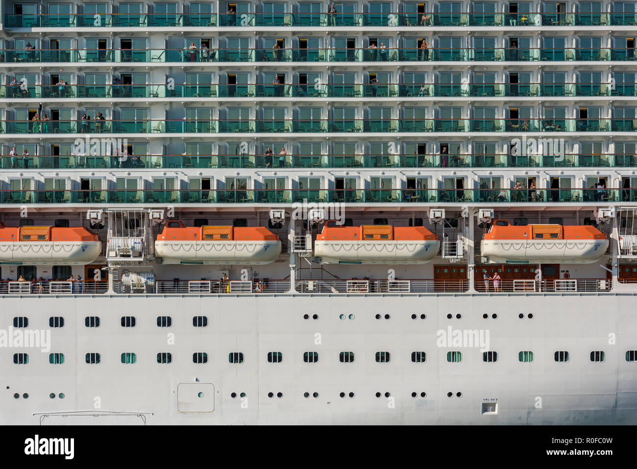 lifeboats and decks on the p and o cruising liner or cruise ship azura in the port of Southampton. - Stock Image