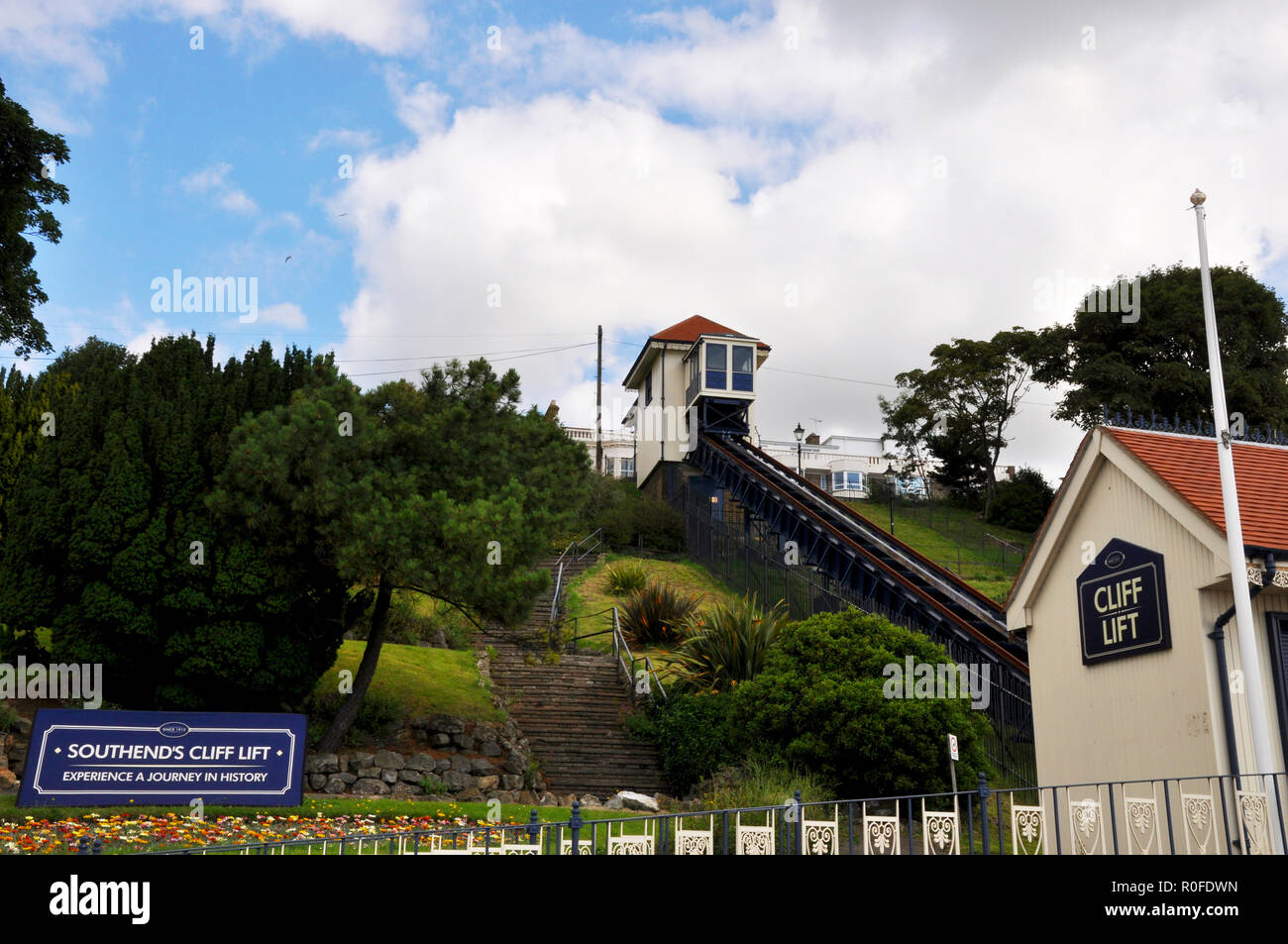 Southend on Sea Cliff Lift with sign saying Southend's Cliff Lift experience a journey in history. A funicular railway up cliffs with gardens - Stock Image