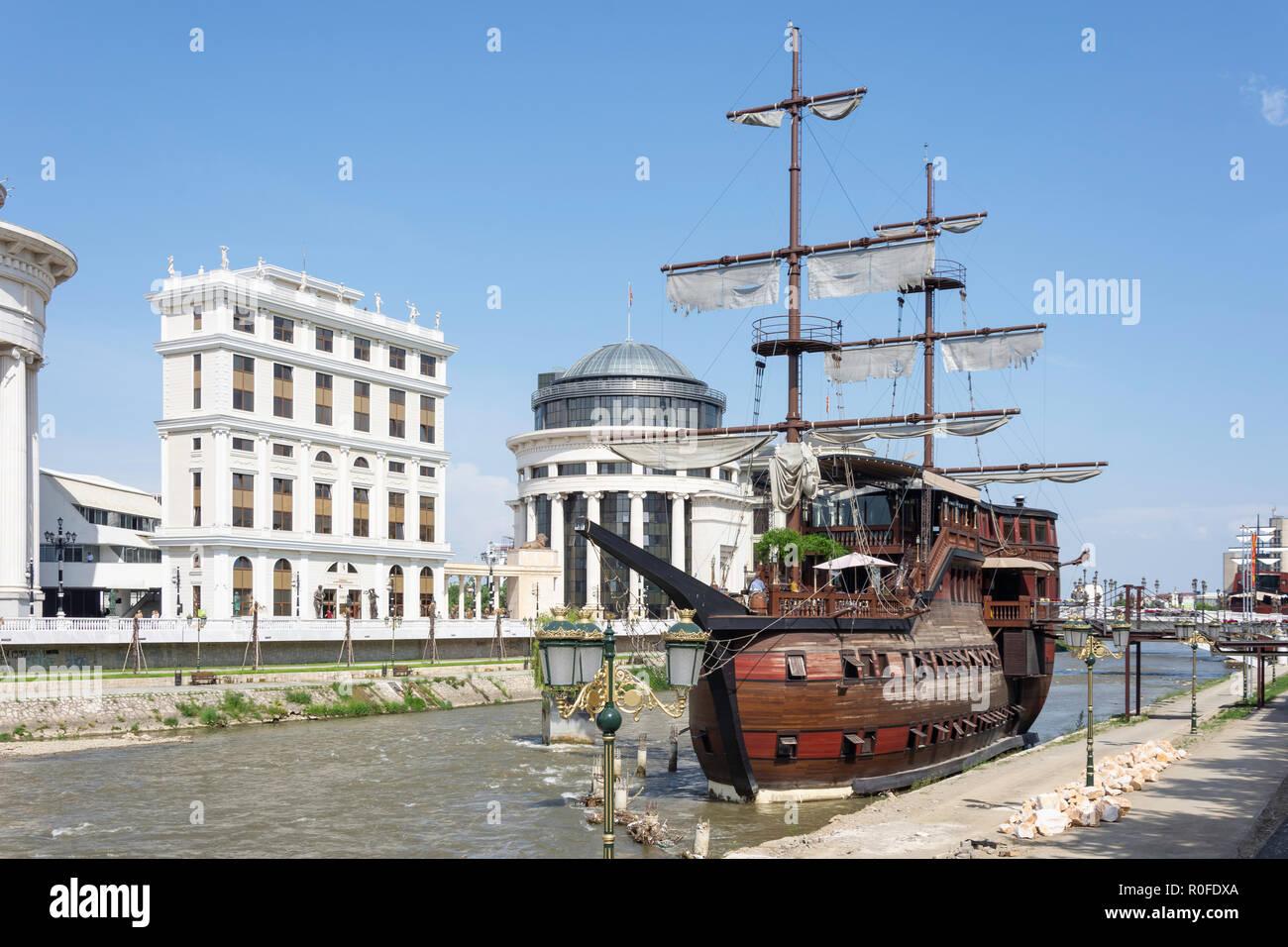 Ship Hotel Senigallia on banks of River Vardar, Skopje, Skopje Region, Republic of Macedonia - Stock Image