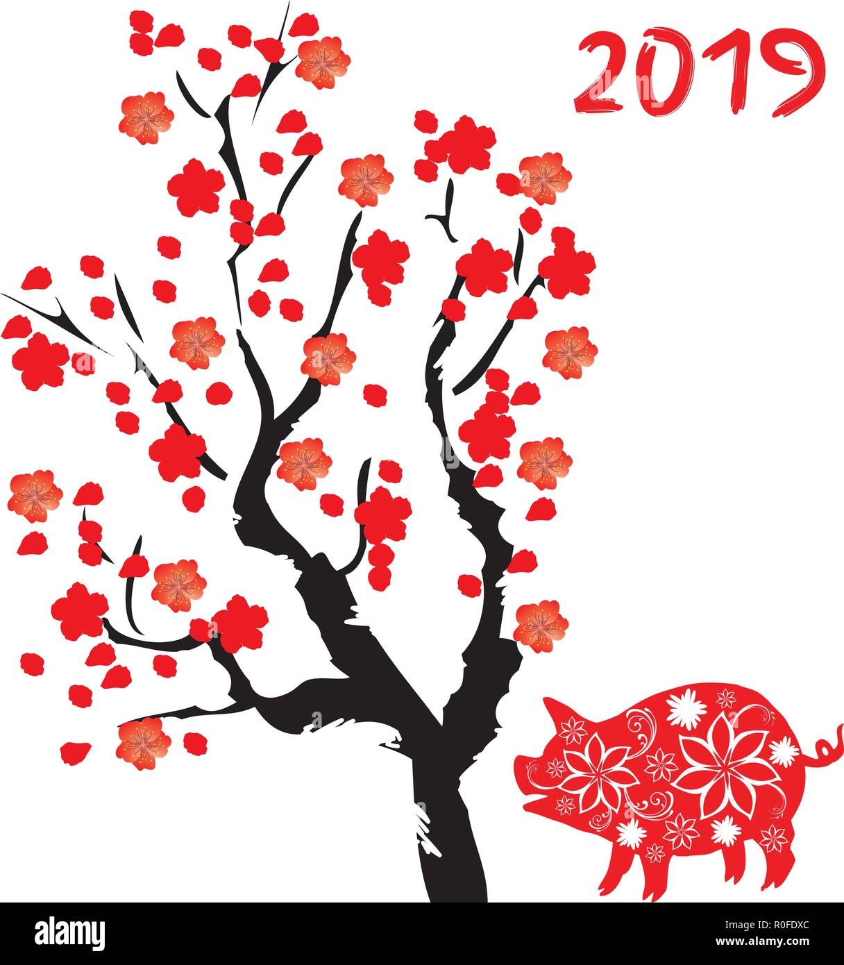 vector illustration of new year background chinese symbol floral pig cherry tree blossom