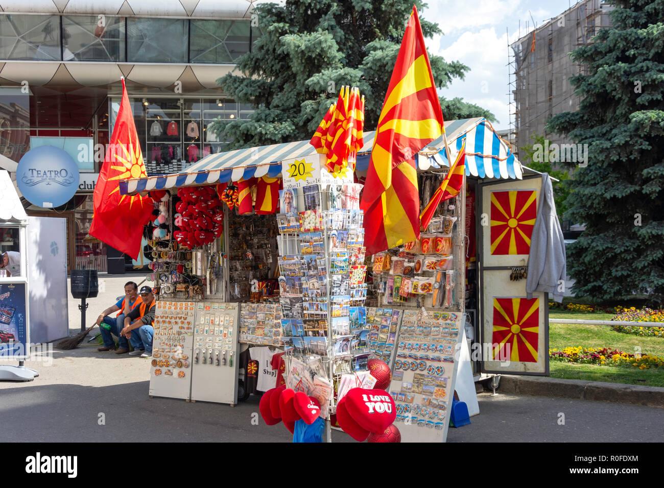 Souvenir kiosk, Macedonia Square, Skopje, Skopje Region, Republic of Macedonia - Stock Image