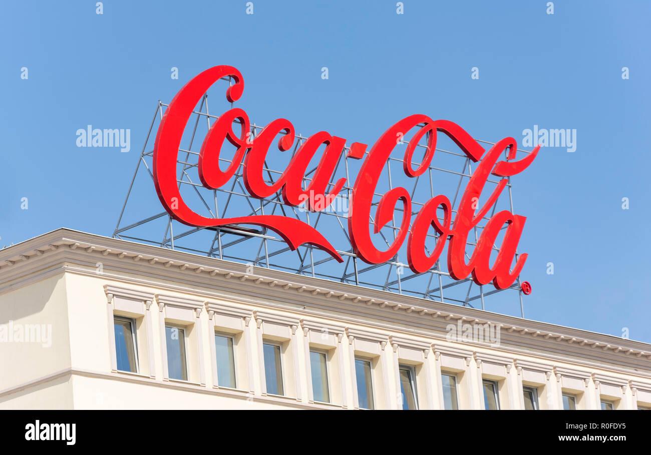Coca-Cola advertising sign on building, Skopje, Skopje Region, Republic of Macedonia - Stock Image