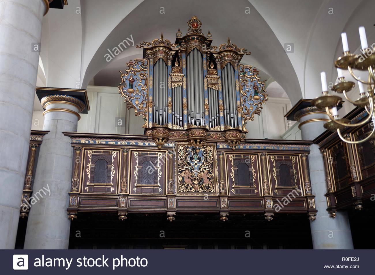 Pipe organ in Kronborg castle chapel - Stock Image