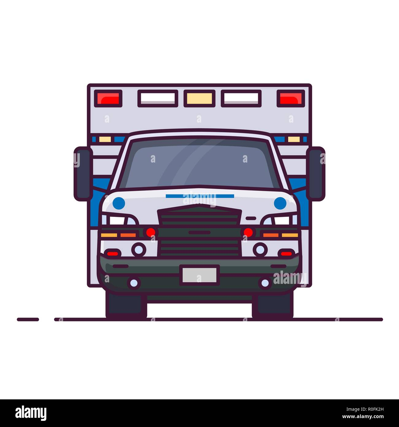 Front View Of Ambulance Car Stock Vector Art Illustration Vector