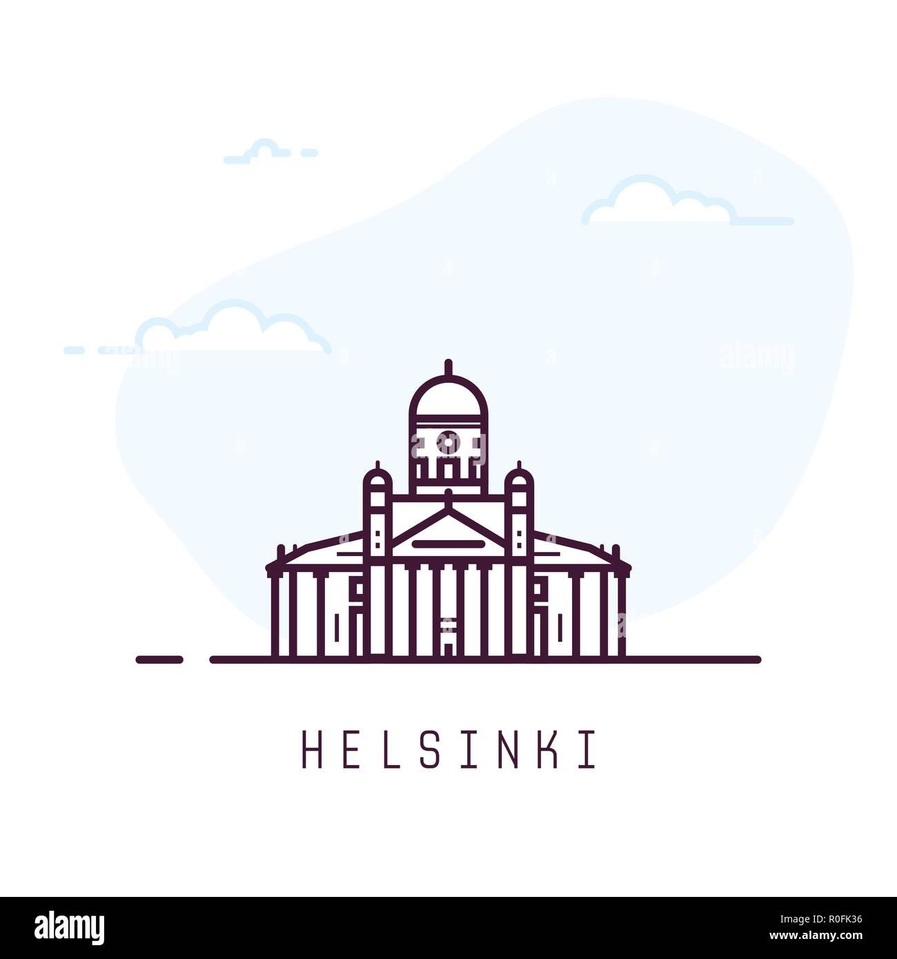 Helsinki line style building - Stock Vector