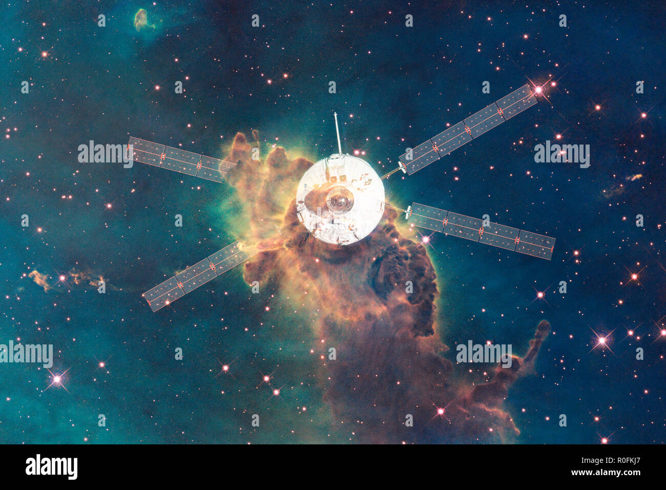 Spacecraft launch into space. Beauty of outer space. Billions of galaxies in the universe. Elements of this image furnished by NASA - Stock Image