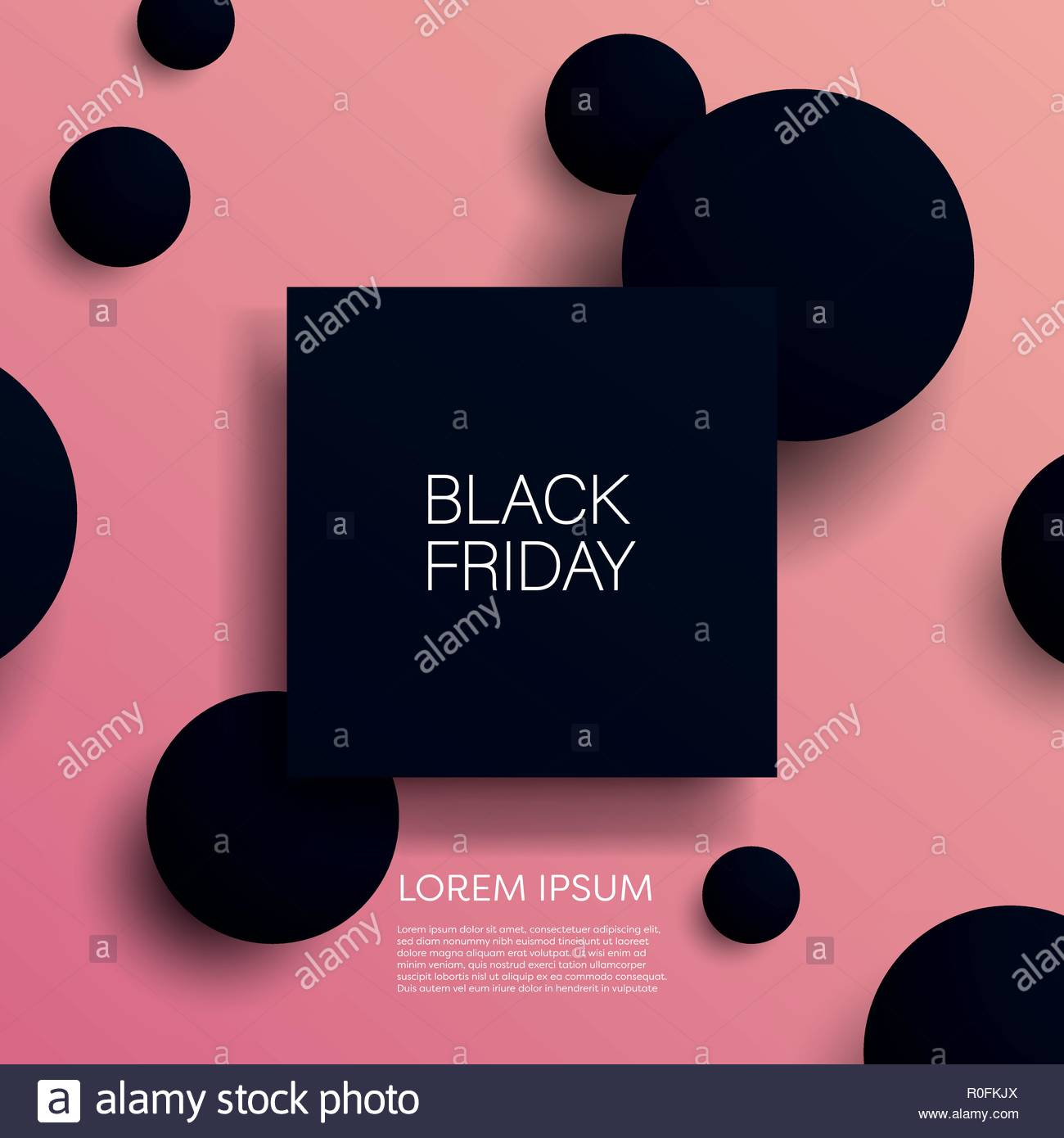 1d20c8a609 Black friday sale 3d vector illustration banner template with black objects  on pink background. Sales promotion