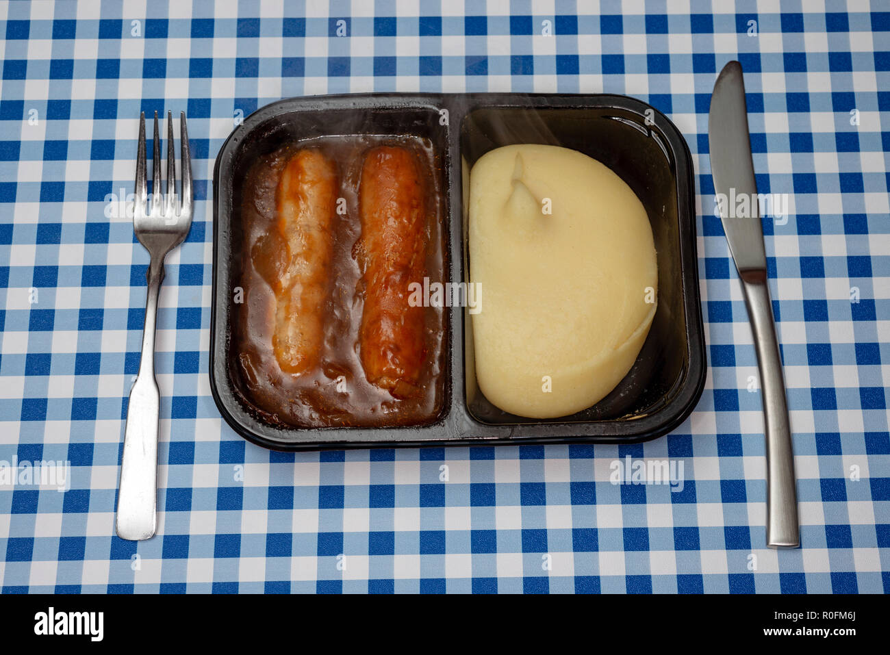 Sausages and mashed potato TV dinner Stock Photo