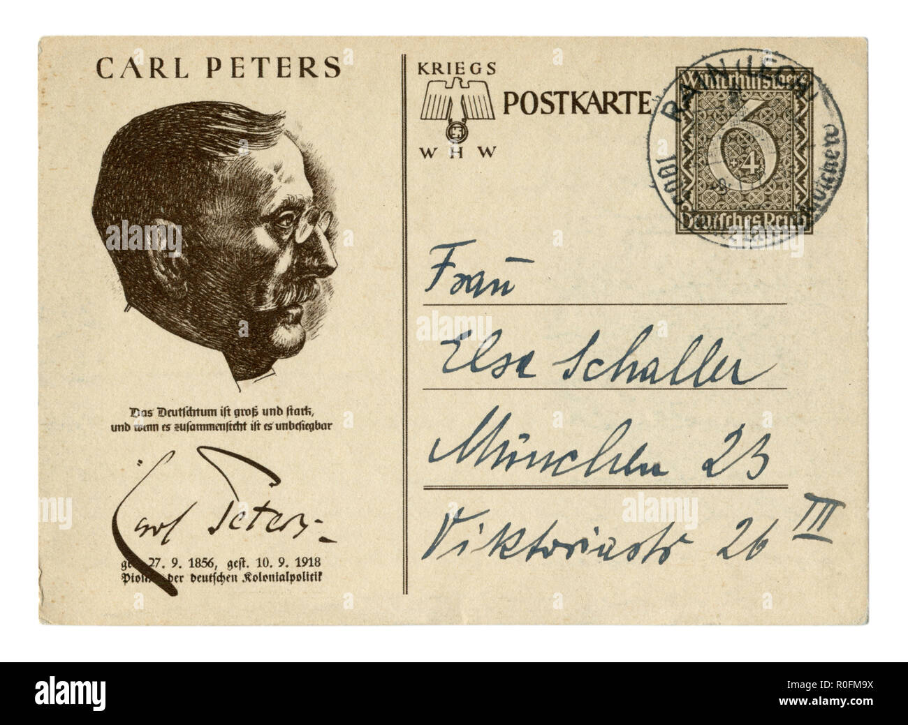 German historical postal card: Carl Peters, 'Winter Relief' Series Outstanding personalities of Germany, issue 1939, world war two, Third Reich - Stock Image