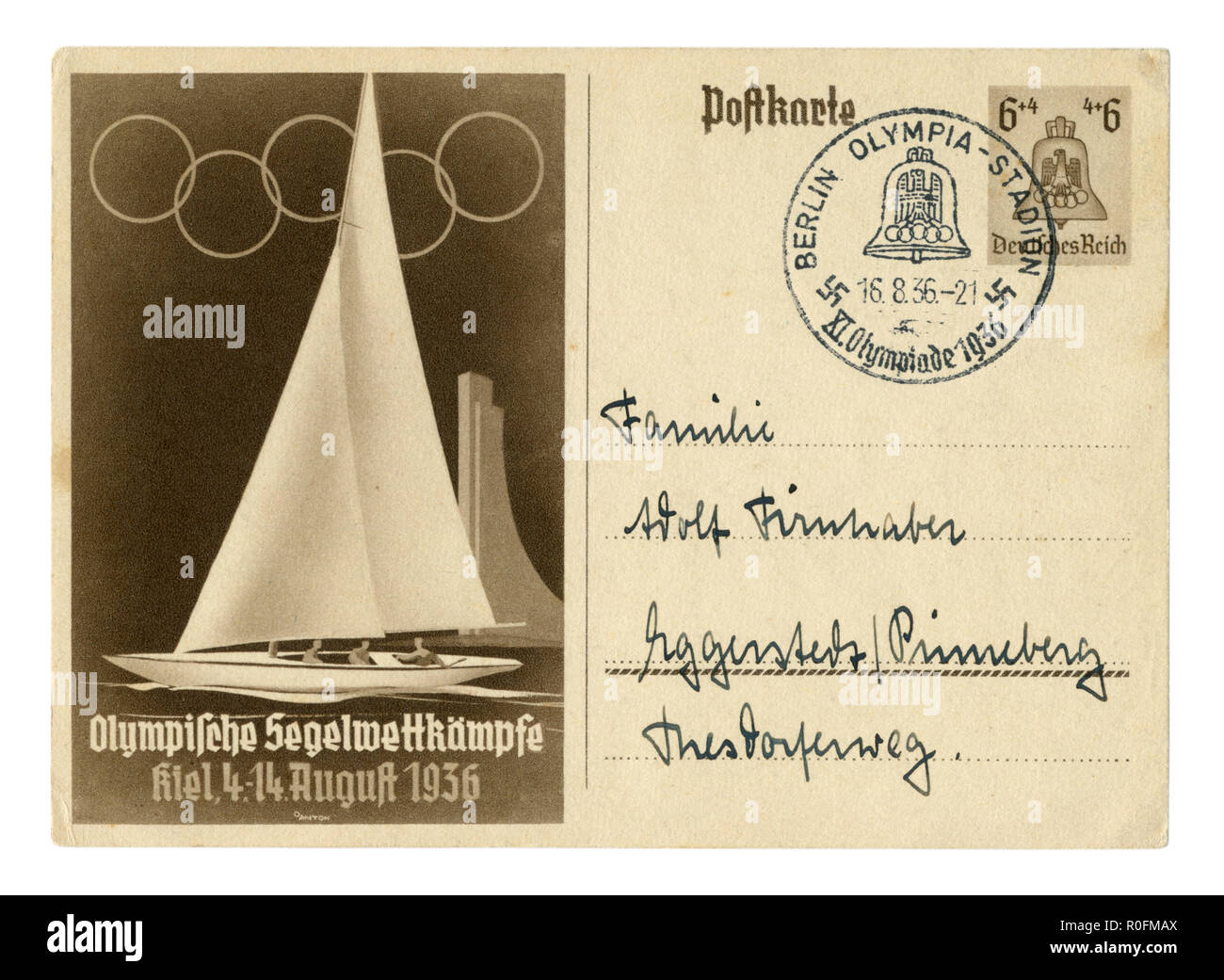 German historical postal card: 11th Summer Olympic games 1936 in Berlin, water sports, city Kiel, Yacht, special cancellation, Germany, Third Reich - Stock Image
