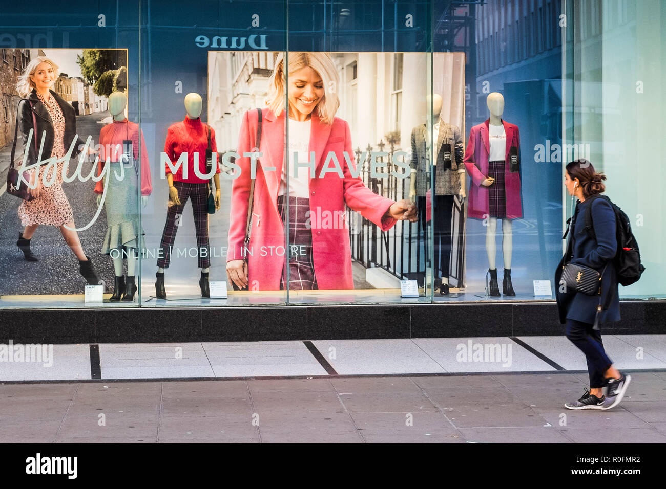 Holly's Must Have collection, M&S store window, Oxford Street, London, England, U.K. - Stock Image