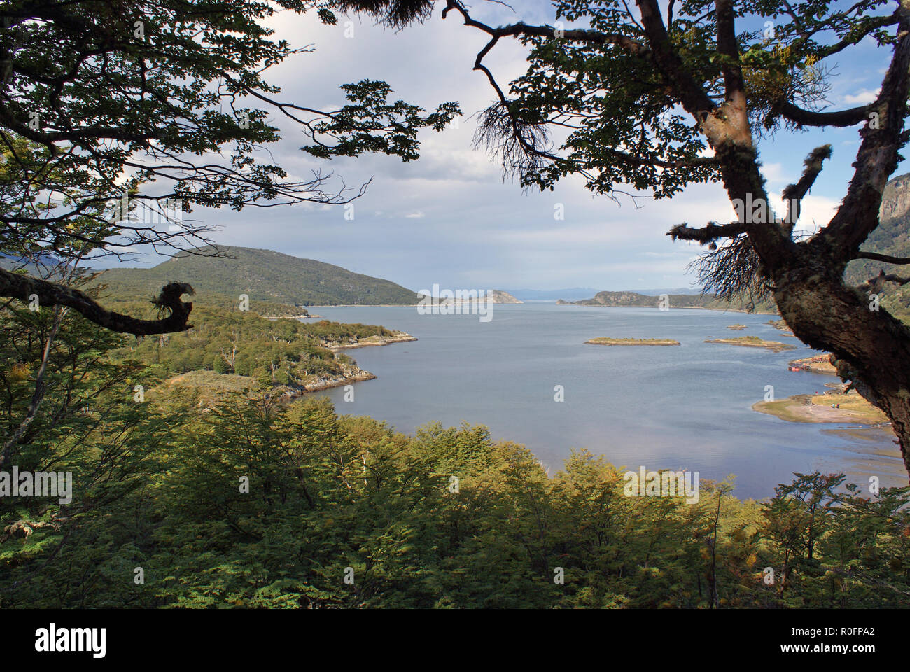 Tierra Del Fuego National Park, southernmost national park in Argentina and close to the world's southernmost city Ushuaia. Dramatic scenery - Stock Image