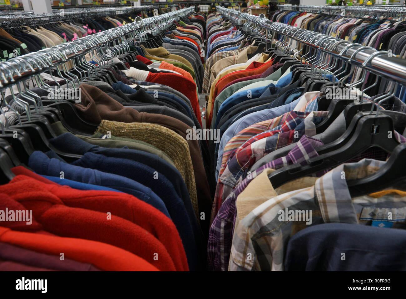 b9a7b6cb294 Racks of used men s clothing in thrift store.Credit Mario Beauregard Alamy  Live News