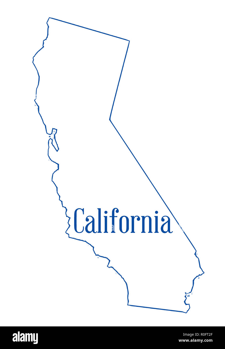 State map outline of California over a white background Stock Photo on