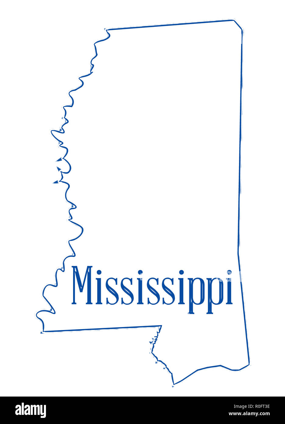 Mississippi State Map Outline.State Map Outline Of Mississippi Over A White Background Stock Photo