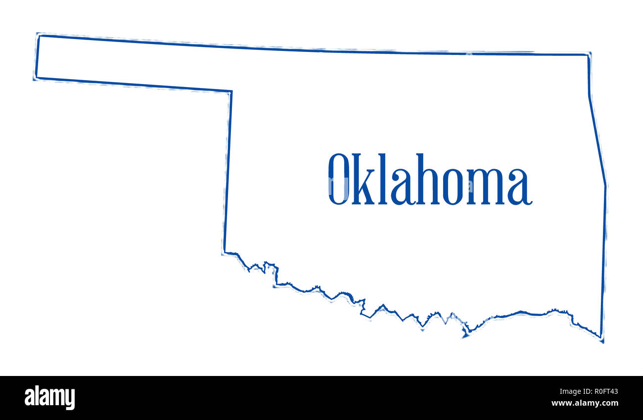 Outline map of the USA state of Oklahoma Stock Photo: 224082995 - Alamy