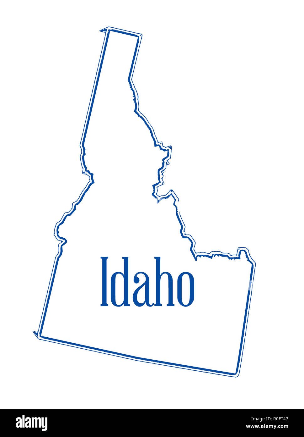 Outline map of the state of Idaho isolated - Stock Image