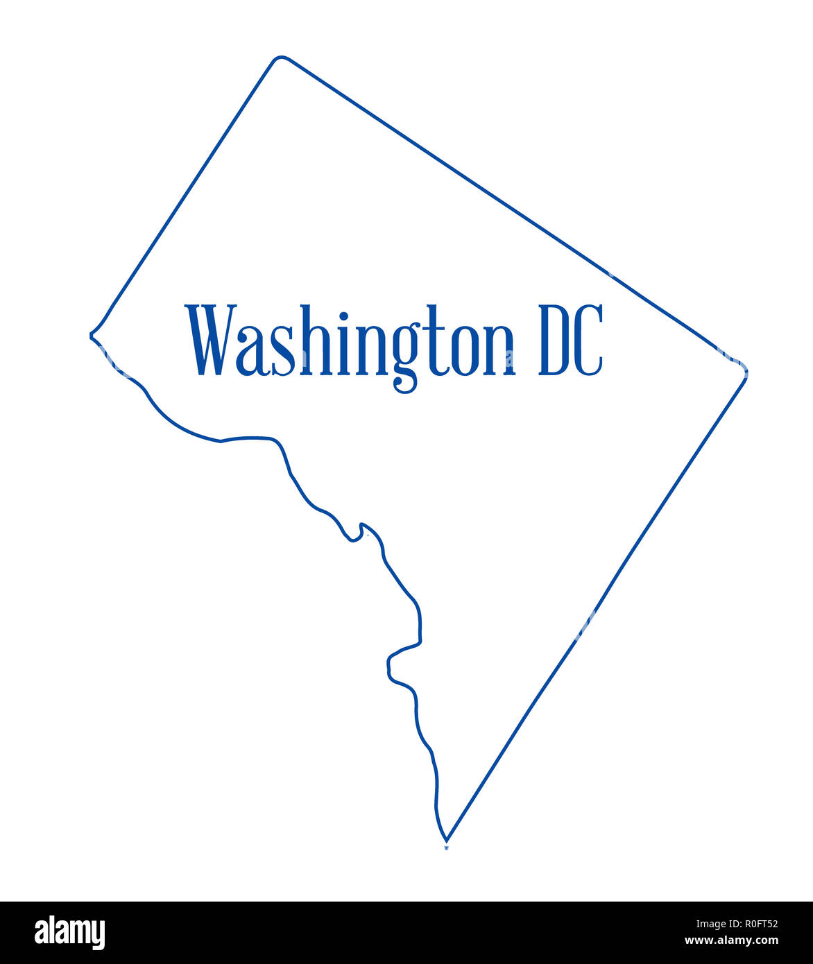 Washington Dc Map Outline Outline map of the state of Washington DC over a white background