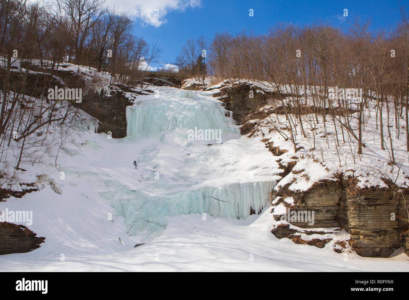Montour Falls, frozen on a sunny winter day, which is located in Schuyler County, New York State about 10 miles south of Watkins Glen. Stock Photo