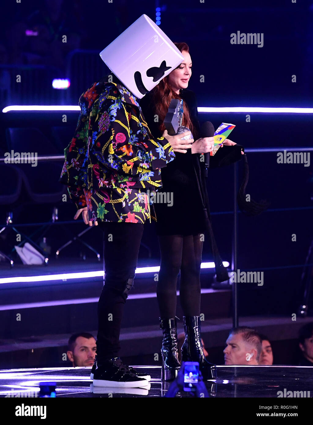 Lindsay Lohan presents Marshmello with his Best Electronic Award on